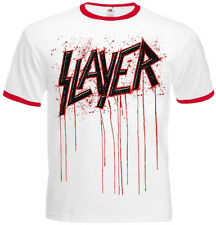 Rock Metal Band Slayer Blood Logo Short Sleeve Ringer Men's T-shirt Size S M XXL