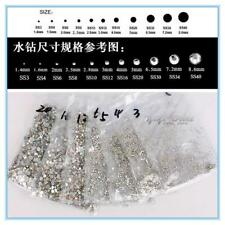 SS3-SS50 Clear AND AB COLOR Crystal Glass Round Nail art Rhinestones Flatback
