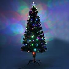 Christmas Xmas Tree Green Pre Lit LED Fibre Optic Festive Decorations DE