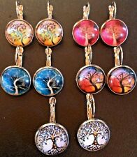 Tree Glass Cabochon Earrings, Summer-Spring-Winter-Fall/Autumn -Tree of Life