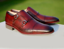New Handmade Burgundy Double Leather Shoes Cap Toe Office Dress Formal Shoes Men