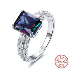 Estate Rectangle Rainbow & White Topaz 925 Sterling Silver Ring Size 6 7 8 9