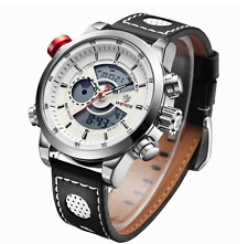 "Men's Premium Quartz Water Resistant Leather Multi-Function Sports Watch ""Bari"""