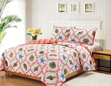 Full/Queen or King Quilt Set Coastal Starfish Seashell Coral Coverlet Bedspread