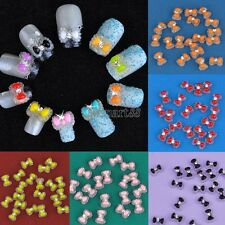 New 20pcs Acrylic Cute Bowknot Bow Tie Glitter Gel UV 3D Nail Art DIY OK