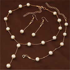 Multilayer Fashion Pearl Necklace Bracelet Earrings Gold Plated Jewelry Sets O
