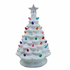 "Ceramic Christmas Tree Lighted Tabletop White 8"" Holiday Timer Switch Small"