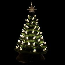 Ceramic Christmas Tree Lighted Tabletop Green 14.5 Timer Switch White Lights
