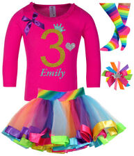 3rd Birthday Girl Shirt Pink Gold Glitter Rainbow Tutu Outfit Sock Hair Bow Name