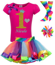 Girls 1st Birthday Shirt Pink Gold Rainbow Tutu Outfit Set Socks Hair Bow Name 1