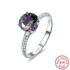 Dazzling Gift Round Rainbow & White Topaz 925 Sterling Silver Ring Size 6 7 8 9