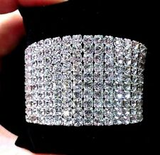Womens Wedding Jewelry Silver Bangle Tennis Bracelet Stretch Rhinestone Crystal