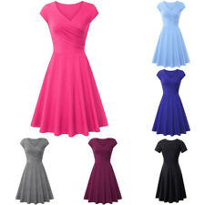 HK- Lady A-line Shaped Pleated V-Neck Cap Sleeve Elegant Party Cocktail Dress Cl