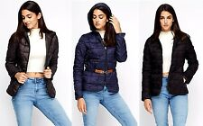 LADIES BLUE BLACK GREY QUILTED HOODED WOMENS PADDED BELTED ZIP JACKET COAT SIZE