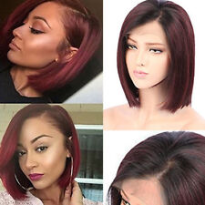 8A Indian Human Hair Wig Short Bob Straight Lace Front Wig No Tangle Pre Plucked