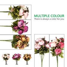 Artificial Wedding Party Decor Bridal Bouquet Peony Silk Flowers Fake Leaf Decor