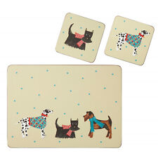 Hound Dog place mats / coasters - cork backed pack four wipe clean gift boxed