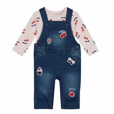 Bluezoo Kids Baby Girls' Navy Cherry Applique Dungarees And Top Set