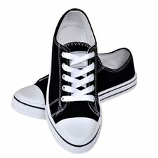 Canvas Sneaker Black Size 36 Classic Women Low-top Lace-up Shoes Comfortable Fit