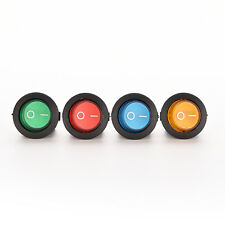1X/4X ON/OFF LED 12V 16A DOT ROUND ROCKER SPST TOGGLE SWITCH CAR BOAT LIGHT HLCA