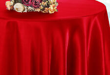 "Wedding Linens Inc. 90"" Satin Round Tablecloths Table Overlays Toppers"