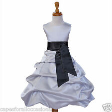 SILVER PAGEANT DRESS FLOWER GIRL WEDDING GOWN 2 2T 3T 4 4T 5T 6 6X 8 10 12 14 16
