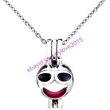HY-K473 Silver 22mm Emoji Enamel Drowsy Laugh Necklace Beads Cage Fit 5-8mm
