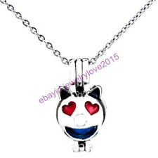 HY-K470 Silver 22mm Face Emoji Heart Ear Smile Necklace Beads Cage Fit 5-8mm