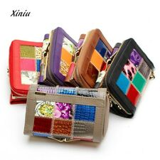 Womens Leather Hit Color Wallets Coin Pocket Female Clutch Travel Wallet Ladies