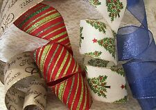 CHRISTMAS RIBBON, 2 1/2 In Wide, Wired Edge, 5 YARDS, Assorted Colors