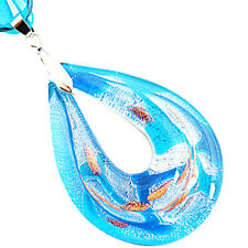 Silver Foil Teardrop Handmade Lampwork Glass Murano Bead Pendant Ribbon Necklace