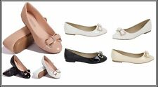 Ladies Diamante Bow Detail Flat Ballerinas Ballet Dolly Flats Pumps Shoes Sandal