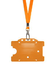 Orange ID Neck Strap Cord Clip Lanyard Plastic Card Badge Tag Amber Pass Holder