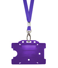 Purple ID Neck Strap Cord Clip Lanyard & Plastic Card Badge Tag Work Pass Holder