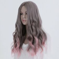 Full Long Curly Hair Style Wigs Cosplay Party Costume Wigs Gray And Pink MX