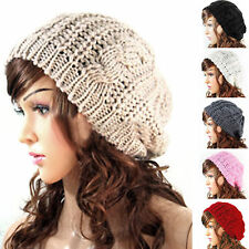 Fashion Warm Winter Women Beret Braided Baggy Knit Crochet Beanie Hat Ski Cap US