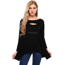 Women Casual Long Sleeve Split O Neck Solid Loose Stretchy Jagged FPAW