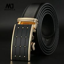 2017 Smooth Automatic Buckle Belts For Men  Famous Brand Solid Strap Genuine Lea
