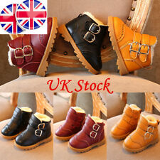 UK Winter Kids Boys Girls Martin Shoes Snow Warm Toddler Ankle Strap Wedge Boots