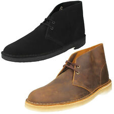 Mens Clarks Desert Boot Black Or Beeswax Brown Leather Lace Up Boots