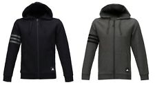 Adidas Men 3S Logo Fleece Hoody Jacket Training Black Gray Top Jersey CI3307