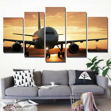 Sunset Airplane Paintings Poster Modern Picture Canvas Wall Art Home Decor