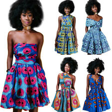Women African Print Pleated Dress Convertible Multi Way Wrap Party Skater Dress*