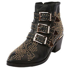 Ladies Pointed Toe Rivet Boots Genuine Leather Ankle Boots Women Zip Shoes