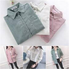 Womens Long Sleeve Corduroy Button Down Collar Shirts Blouse Autumn T Shirt Tops