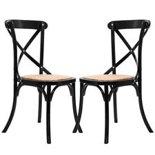 Set of 2 Cross Back Solid Wood Rattan Wicker Bar Stool Chair Dining Furniture US