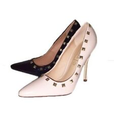 Ladies patent pointy toe stiletto court shoes with metal studs
