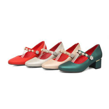 Womens block Heel buckle Strap rhinestone pointed toe party Court shoes Chic