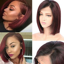 8A Indian Remy Human Hair Wig Bob Straight Lace Front Wigs No Tangle Off Black Z