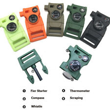 Buckle With Whistle Compass Flint Fire Starter Scaper For Paracord Bracelet